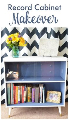 Record Cabinet Makeover with Pure and Original Paint #spon   Mid Century Modern Record Cabinet