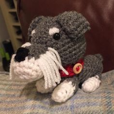 Meet Archie the schnauzer he fits into the palm of my hand  My first attempt at amigurumi. Pattern from a book called Ami Ami Dogs. #amigurumi #crochet #crochetaddict #dogs #schnauzer #ilovecrochet #crochetersofinstagram by alfieandmyyarnstash