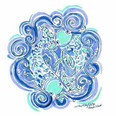 We've been celebrating Pisces since February It's believed Pisceans are reasonable, quiet, and ARTISTIC. Well at least we can for sure say we are ONE of the three. Lilly Pulitzer Prints, Lily Pulitzer, Pisces Sign, Seaside Style, Whimsical Art, Signs, Flower Art, Cool Art, Fun Art