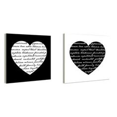 Stupell Industries lulusimonSTUDIO Hearts with Love Quotes Typography 2 pc Wall Plaque Set