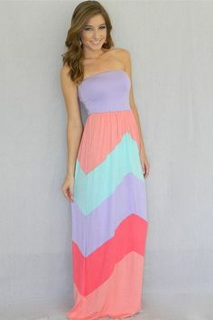 Pastel strapless maxi (gorgeous and looks really comfy too!)