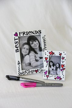 DIY picture frames for your bestie or other special people in your life. Personalize with Infinity Permanent Markers.