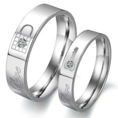 """Titanium Stainless Steel Lock and Key Wedding Ring Promise Ring Couple Wedding Band with Engraved """"Love"""" Rhinestone Inlay (Available Sizes: Him 6,7,8,9,10,11,12; Hers 5,6,7,8,9,10) Flying Colors. $10.88. Engraved with lock, key and the word """"Love"""". Buy one for him and one for her to make a pair. Shiny polished finish. Promptly packaged with free gift box. Express your promise with these 316L stainless steel wedding bands"""