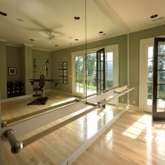 Home Gym Design Ideas, Pictures and Remodels I like the ballet bar