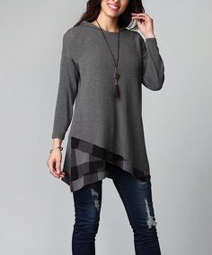 Look at this Charcoal Buffalo Check Asymmetrical Hem Hooded Tunic - Plus on #zulily today!