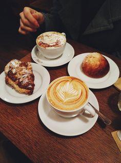 Monmouth Coffee - London, United Kingdom. Cappuccino, latte, almond croissant and brioche bun. All so yummy!