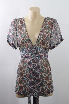 Size L 14 Jeans West Ladies Top Crop Sheer Floral Boho Chic Casual Layer Design