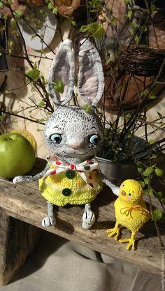 Купить Зайчонок и цыплёнок - желтый, цыпленок, цыпа, птичка, Пасха, пасхальный подарок, пасхальный декор