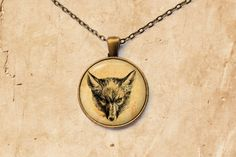 Cute handmade antique jewelry. Animal necklace. Fox pendant with antique paper background. 1 inch in diameter (25 mm) pendant. Two options are