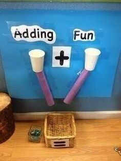 A fun way to encourage addition math skills with cups and paper towel or toilet paper rolls. I did this with big C in pre-K. Elementary Math, Kindergarten Classroom, Teaching Math, Eyfs Classroom, Math Teacher, Primary Classroom Displays, Year 1 Classroom, Maths Eyfs, Ks2 Maths