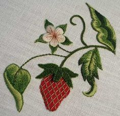 stumpwork strawberry. I just love how these look sewn in this style, someday I hope too make something like this!