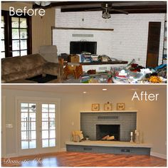 Painted Fireplace Makeover Before and After.