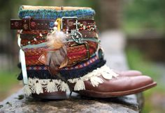 Upcycled REWORKED vintage colorful boho COWBOY BOOTS - custom boho boots - festival boots - gypsy boots