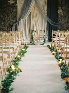 greenery wedding aisle runner