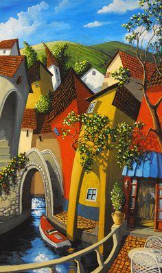Miguel Freitas ~ The naive memories Watercolor Art, Colorful Art, Art Painting, Fine Art, Amazing Art, Naive Art, Whimsical Art, Pop Art, Street Painter
