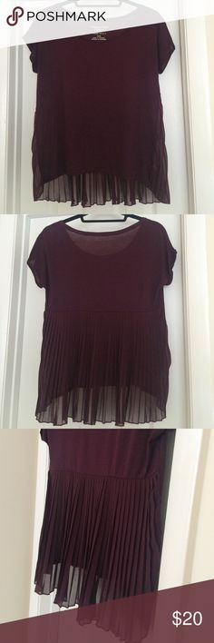 American Eagle Happy Hour T - Sheer Pleated Back American Eagle Happy Hour T in burgundy. Soft, comfortable tee with a sheer, pleated back. Great condition! American Eagle Outfitters Tops Blouses