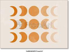 Background with Moon phases print boho minimalist printable wall art mid century - Artwork - Art Print from FreeArt.com