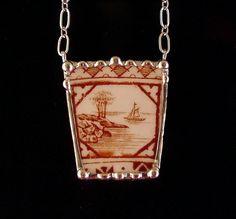 Broken china jewelry necklace antique amber brown scenic English transferware 1850's boat lake. $80.00, via Etsy.