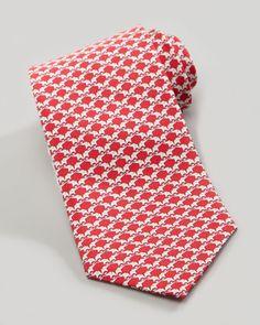 Elephant-Print Silk Tie, Red by Salvatore Ferragamo at Neiman Marcus.