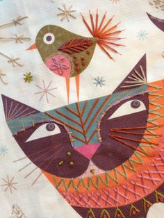 We just love Nancy Nicholson's Cat Embroidery Kit, super easy to do, no experience needed and once you've stitched it you can either frame it or turn it into a cushion cover! Available from our online store...  www.drapersdaughter.com  #embroidery #sewing #handstitch