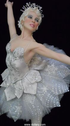 "Vickie Arentz - ""Snow Queen"" One-of-a-Kind, Polymer Clay Upper Body, Epoxy Clay Legs, Painted Eyes, Mohair Wig, Approx. 29"""