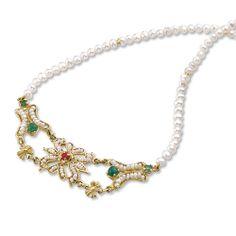 Collana RICAMI in oro 18kt con microperle, perle coltivate, rubino e smeraldi - 13014