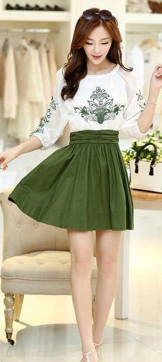 Elegant fifth sleeve chiffon dress embroidered dress ghl3429