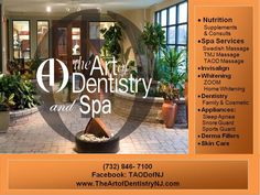 The Art of Dentistry & Spa-Visit our beautiful & serene Dental Spa. Take a look at our website. www.theartofdentistrynj.com Tmj Massage, Spa Services, Sleep Apnea, Snoring, Nutritional Supplements, Dentistry, Whitening, Serenity, Dental