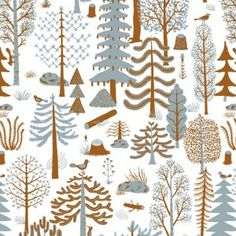 Kauniste Metsa Blue Finnish Fabric