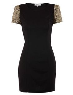 Madam Rage Black Sequin Contrast Sleeve Bodycon Dress