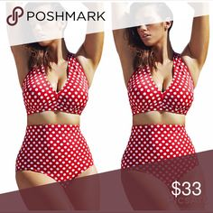 Red White Polka Dot Halter High Waist Swimsuit Hot selling Halter High Waist Swimsuit! An enrapturing classic vintage inspired two piece swimsuit in a simple solid color. Flattering on all body types, this stunning suit boasts a center ruched halter style v-neck top and high-rise full coverage bottoms, fully lined with mesh lining and boasting an elasticized bust. No underwire with detachable bra paddings. Enjoy swimming time with this stylish high waist swimsuit, darling! Swim Bikinis