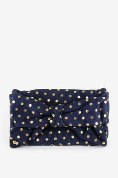 Flair Polka Dot Suede Oversized Bow Clutch