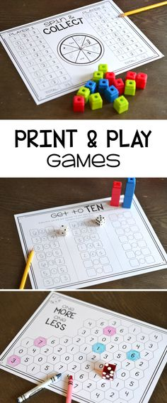Tons of print and play math games for addition, subtraction, numbers sense, place value and more! Addition Games For Kindergarten, Math Addition, Kindergarten Math, Elementary Math, Math For Kids, Math Classroom, First Grade Games, Second Grade Math, Grade 1