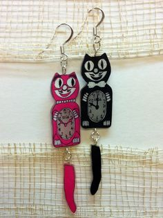 Cat Clock Shrinky Dink Earrings (via Pam ^_^ on Cut Out + Keep)