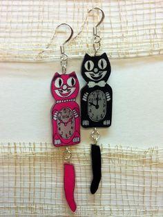 Cat Clock Shrinky Dink Earrings (via Pam ^_^ on Cut Out + Keep)