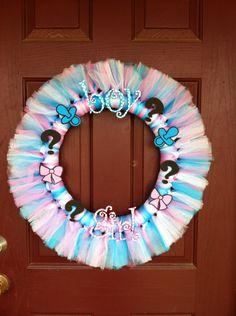 Gender Revealing Tutu Wreath