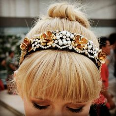Baroque Dolce and Gabbana Inspired- Ornate Tiara-Headband-Pearls Gold Roses Rhinestones Gold Leafing-Couture Runway