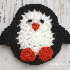 Repeat Crafter Me: P is for Penguin: Crochet Penguin Applique Free Crochet Pattern. Appliques Au Crochet, Crochet Motifs, Crochet Squares, Crochet Stitches, Crochet Patterns, Crochet Gifts, Cute Crochet, Crochet Baby, Crochet Beanie