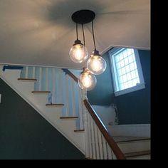 Lamp Goods' Windmill Chandelier with Farmhouse Mason Jars Edison Bulb Chandelier, Rustic Pendant Lighting, Ceiling Chandelier, Glass Ceiling, Glass Pendant Light, Ceiling Light Fixtures, Ceiling Lights, Ceiling Fans, Mason Jar Light Fixture
