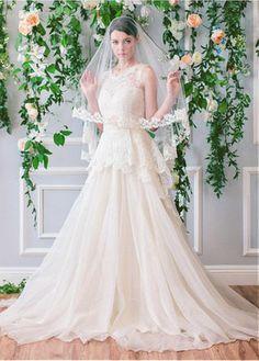 Delicate Lace & Organza V-neck Neckline A-line Wedding Dresses With Lace Appliques