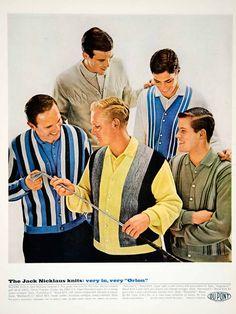 1963 Ad Vintage Jack Nicklaus Golf Sweater Knit Men Fashion 60s Orlon Acrylic