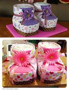 DIY Diaper Cake Baby Booties for Baby Shower