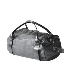 CAIA Black Lather Weekend Bag | CAIA
