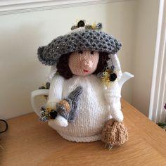 Beautiful bee-keeper lady tea cosie, pattern by teacosyfolk