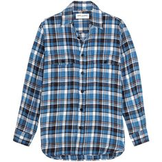 Saint Laurent Plaid cotton-flannel shirt (10 145 ZAR) ❤ liked on Polyvore featuring tops, blue, blue top, blue flannel shirt, flannel tops, plaid top and cotton flannel shirts