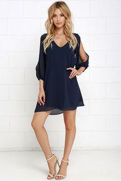 Shifting Dears Navy Blue Long Sleeve Dress at Lulus.com!