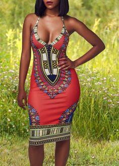 Red African Dashiki Halter V Neck Open Back Knee Length Dress
