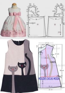 Стильная детская одежда (выкройки) / Простые выкройки Kids Dress Wear, Dresses Kids Girl, Kids Outfits, Kids Dress Patterns, Clothing Patterns, Dress Sewing Tutorials, Sewing Baby Clothes, Baby Sewing Projects, Make Your Own Clothes
