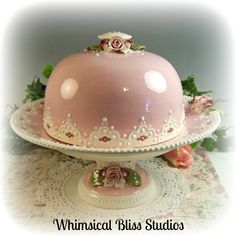 Whimsical Bliss Studios - Pink Rose Covered Pedestal Plate