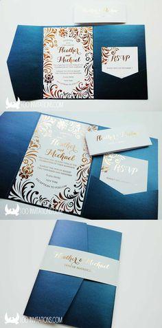Navy pocketfold Wedding Invitation with rose gold foil printing
